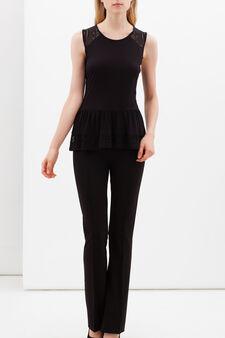 Vest with lace inserts, Black, hi-res