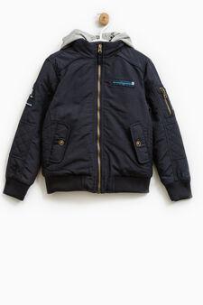High neck jacket., Dark Blue, hi-res