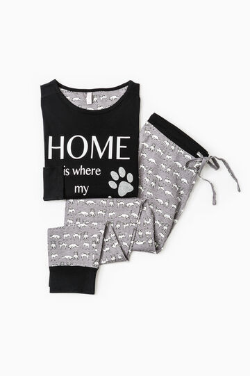 Cotton pyjamas with glitter print, Black, hi-res