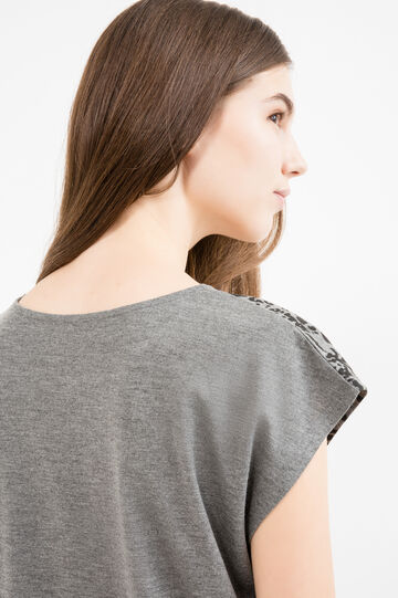 Viscose blend T-shirt with print and diamanté motif, Black/Grey, hi-res