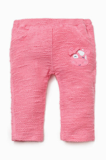 Trousers with animal patch, Pink, hi-res