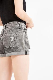 Ripped denim shorts, Black, hi-res