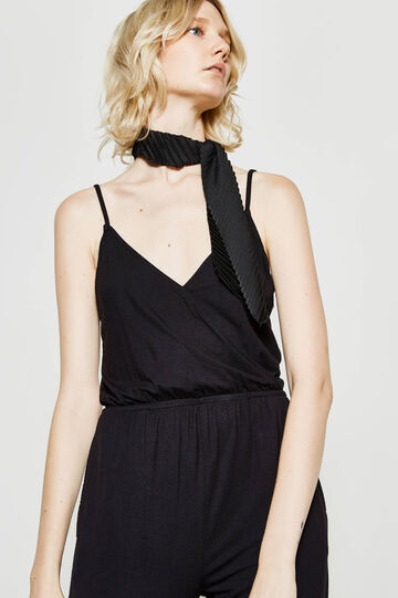 Playsuit with crossover neckline