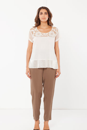 Curvy T-shirt with lace., Cream White, hi-res