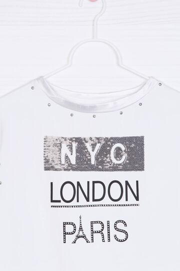 Printed sweatshirt with short sleeves