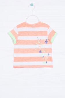 Cotton T-shirt with striped pattern, White/Orange, hi-res