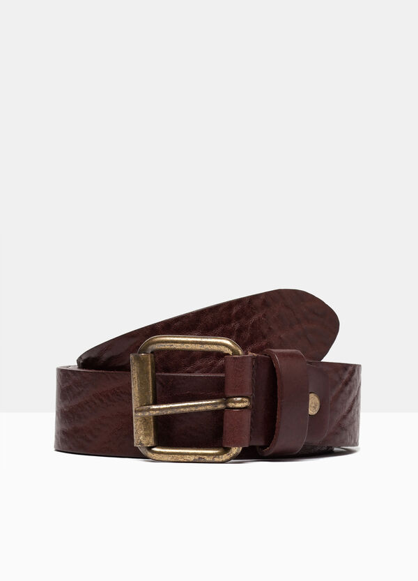 Real leather hammered belt | OVS