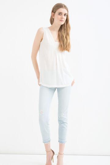 Plain rayon blouse, Cream White, hi-res