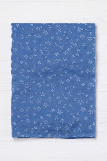 Floral print scarf, Azure, hi-res