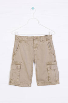 Bermuda cargo shorts in 100% cotton, Beige, hi-res