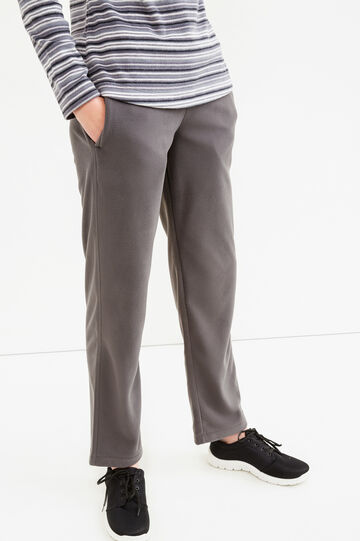 Pantaloni tuta in pile con coulisse, Grigio, hi-res