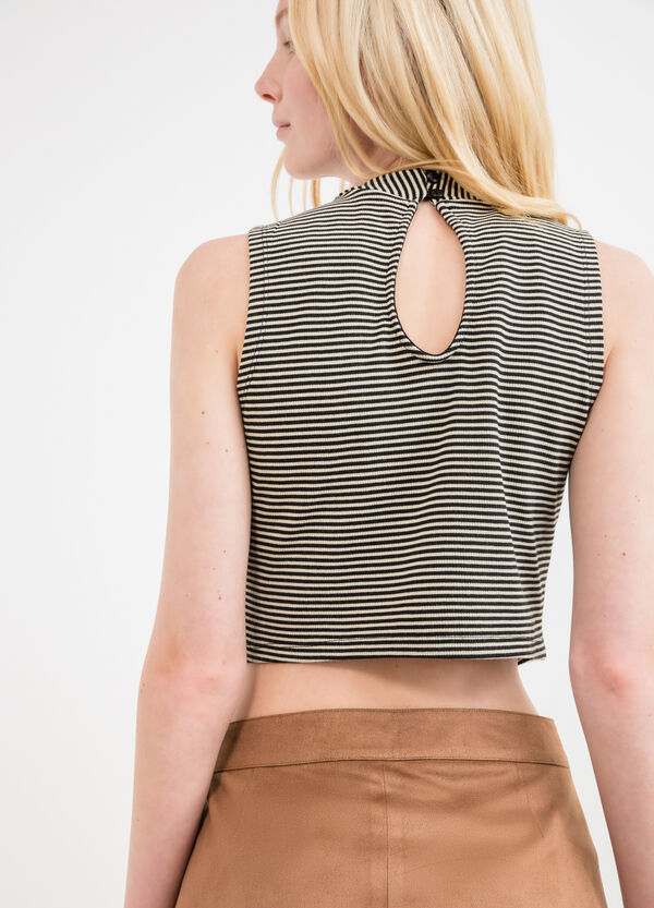 High-neck stretch top with striped pattern | OVS