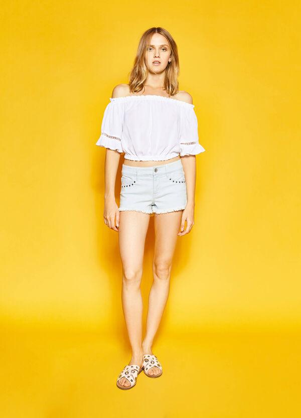 Washed-effect denim shorts with diamantés | OVS