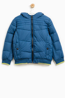 Bomber jacket with hood and zip, Deep Blue, hi-res