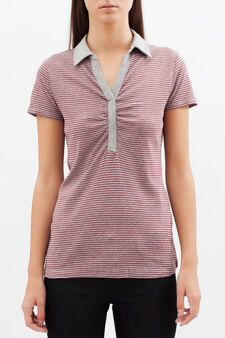 Striped polo shirt with V-neck., Grey/Red, hi-res