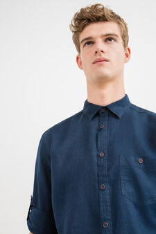 Camicia casual in puro lino tinta unita, Blu, hi-res