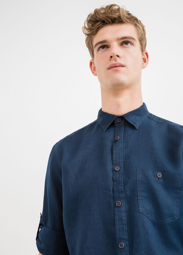 Solid colour 100% linen casual shirt | OVS