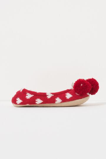 Pantofole ballerine con pon pon, Bianco/Rosso, hi-res