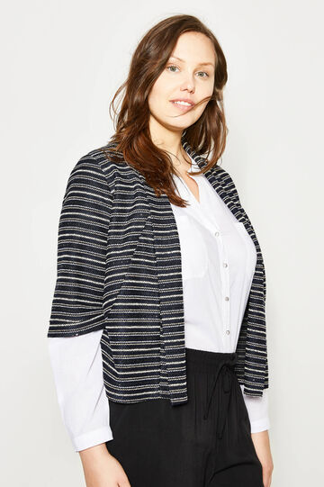 Curvy striped knitted crop cardigan