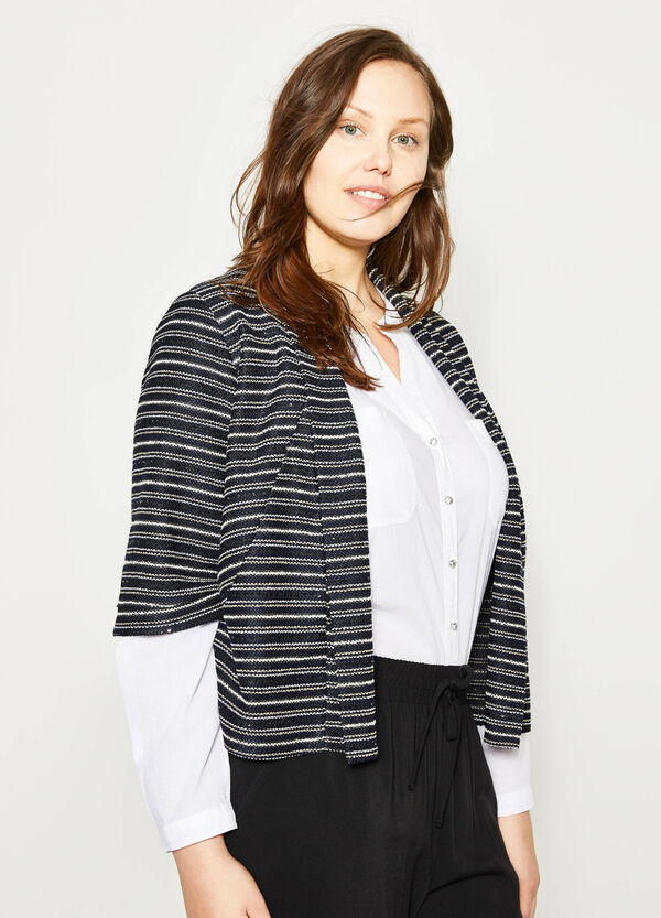 Curvy striped knitted crop cardigan | OVS