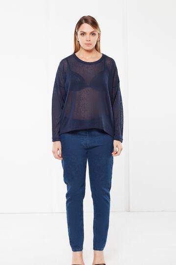 T-shirt Curvy a maniche lunghe, Blu navy, hi-res