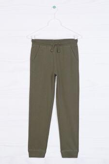 Solid colour 100% cotton joggers, Green, hi-res