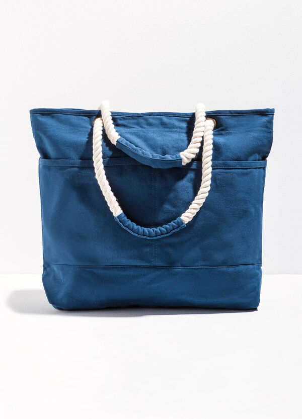 Cotton beach bag with pocket | OVS