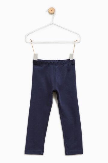 Solid colour stretch cotton leggings, Blue, hi-res