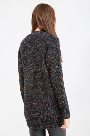 Knitted cardigan without buttons, Black, hi-res