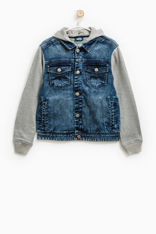 Denim jacket with hood, Blue, hi-res