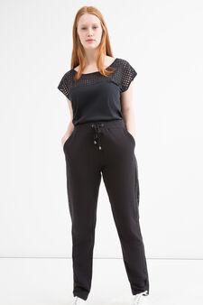 Curvy cotton gym pants, Black, hi-res