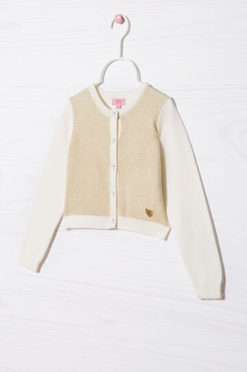 Cotton blend knit cardigan, Milky White, hi-res