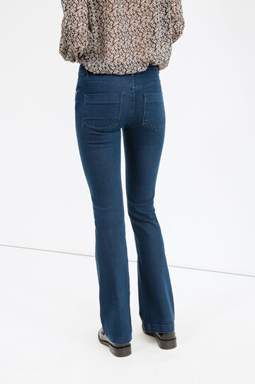 Stretch boot cut jeans with zip, Dark Blue, hi-res