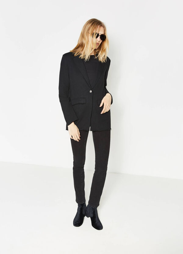 Single-button blazer with raw edges | OVS