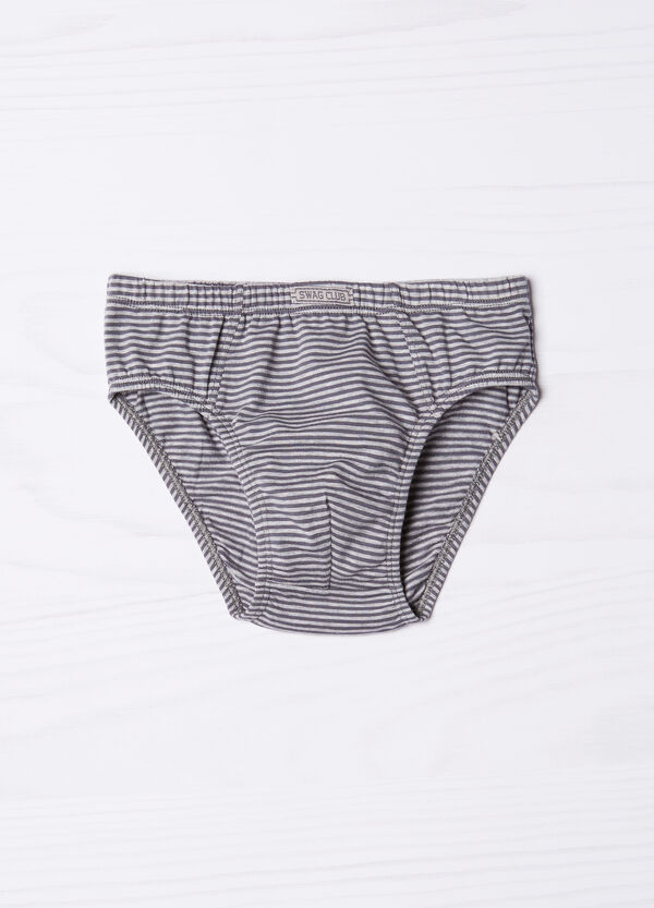 Striped pattern briefs in stretch cotton. | OVS