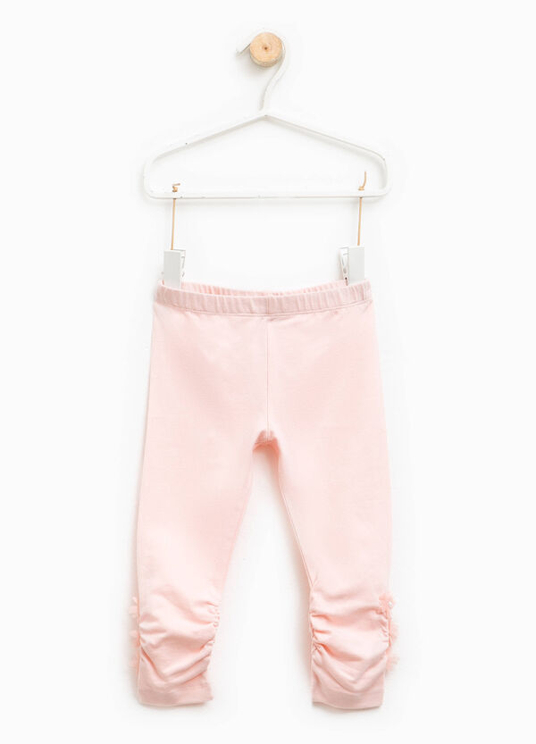 Cotton leggings with tulle flowers | OVS