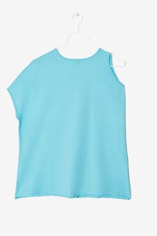 Maglietta asimmetrica con stampa, Azzurro, hi-res