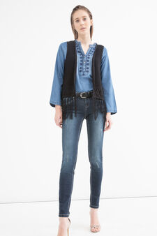 Knitted waistcoat with fringe, Black, hi-res