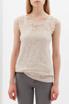 Sleeveless lace top, Beige, hi-res
