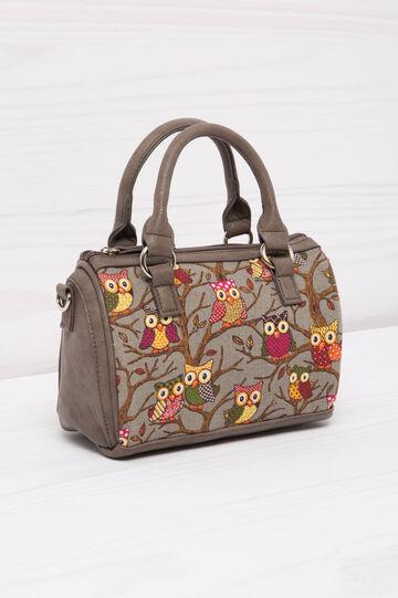 Cotton handbag with owl pattern, Grey, hi-res