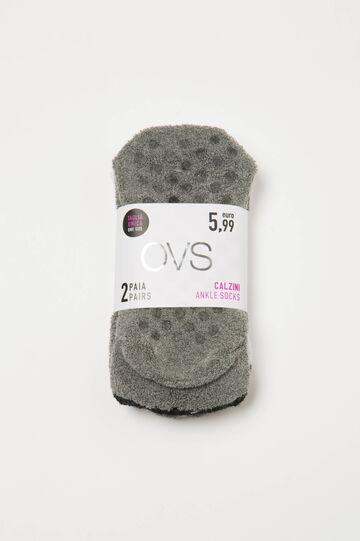 Two-pair pack of slipper socks, Black/White, hi-res