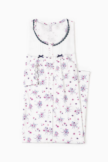 Floral nightshirt with bows, Cream White, hi-res