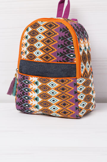 Cotton backpack with geometric print, Multicolour, hi-res