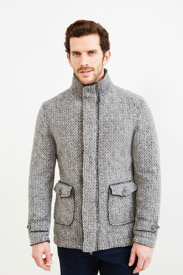 Knitted wool blend coat with high neck, Grey, hi-res