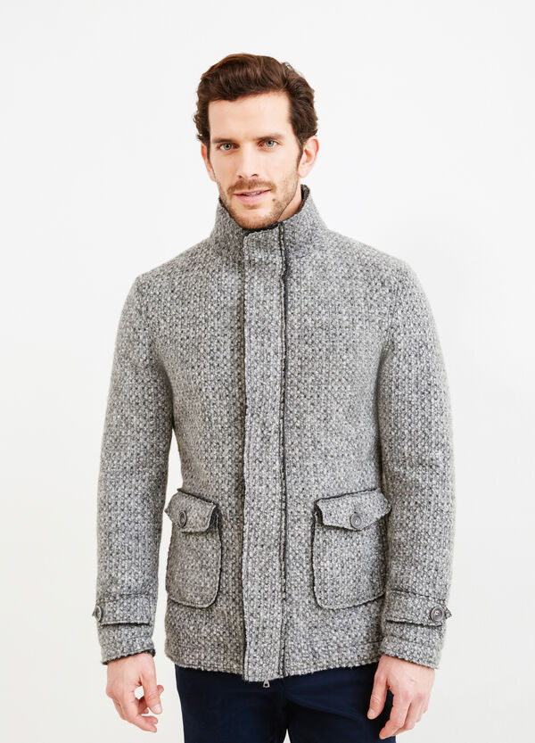 Knitted wool blend coat with high neck   OVS