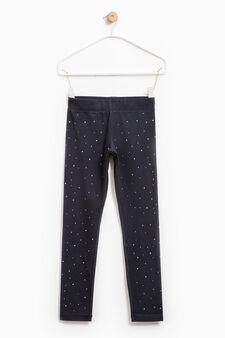 Viscose and cotton leggings with diamantès, Dark Blue, hi-res