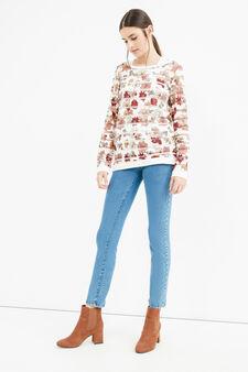 Stretch sweatshirt with semisheer inserts, Milky White, hi-res