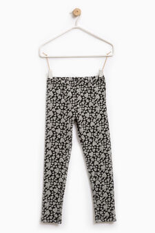 Patterned leggings in stretch cotton, Black/Grey, hi-res
