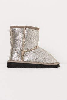 Solid colour glitter ankle boots, Grey, hi-res