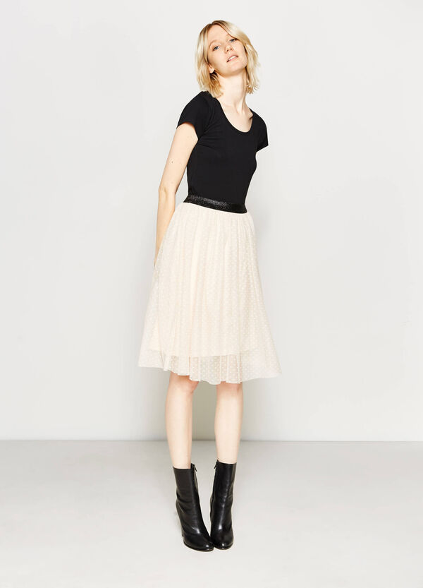 Longuette skirt in speckled tulle | OVS